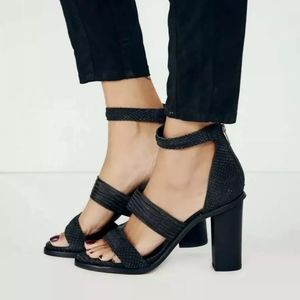 Free People Loca Texture Snake Skin Leather Heels